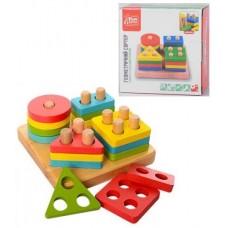 Детская развивающая логическая Деревянная игрушка - Сортер Геометрика для малышей: сортировка по цвету и форме