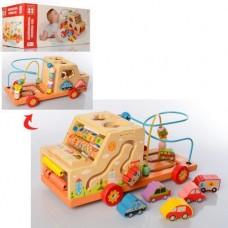Детская Развивающая Игрушка Деревянная Машинка бизиборд, пальчиковый лабиринт, 34х17х15 см, арт. 2201(39202)