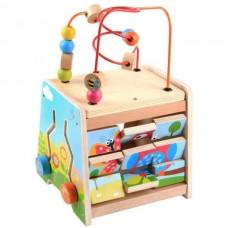 Деревянная игрушка Развивающий Куб, сортер, бизиборд, съемный пальчиковый лабиринт, 24х20х35 см, арт. 23086