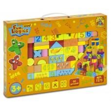"""Деревянные разноцветные развивающие кубики в мешочке """"Городок"""" Win Fun состоит из 60 деталей арт. 7373"""