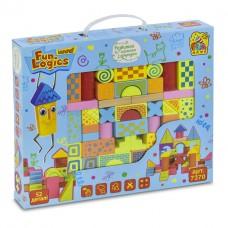 """Деревянные разноцветные  развивающие кубики в мешочке """"Городок"""" Win Fun состоит из 52 деталей арт. 7370"""