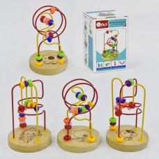*Деревянный пальчиковый лабиринт маленький, размер игрушки 11-11-16 см арт. 35643