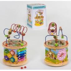 Детский Развивающий Деревянный Бизиборд многогранник, пальчиковый лабиринт, ксилофон, 23х23х37 см, арт. 39185