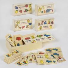 Детская развивающая логическая игра Деревянное домино Домашние животные для 2-4 игроков, для детей от 3 лет