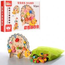 Детская Развивающая Игрушка Деревянная Шнуровка Ежик на подставке, плоды и фигуры, 82 детали арт. 35822 (0928)