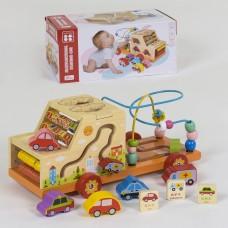 """Развивающая детская деревянная игрушка """"Машина"""" (счеты, сортер, бизиборд, пальчиковый лабиринт) арт.39202"""