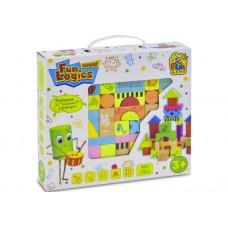 Деревянная Игрушка Развивающий Конструктор Кубики Городок Fun Game, мешочек для хранения, 33 детали арт. 7381