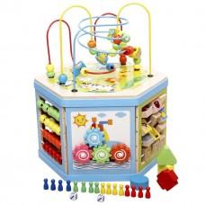 Детская Развивающая Игрушка Деревянный шестигранник счеты, сортер, часики, пальчиковый лабиринт арт. 31353