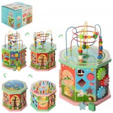 Развивающая игрушка для малышей Деревянный Бизикуб: сортер, шестеренки, счеты, съемный пальчиковый лабиринт