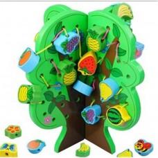Детская Развивающая Игрушка Деревянная Шнуровка Дерево на подставке с фруктами и овощами (34 шт) арт. 35911