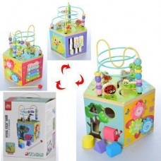 Развивающая игрушка для малышей Деревянный Бизикуб: ксилофон, шестеренки, съемный пальчиковый лабиринт