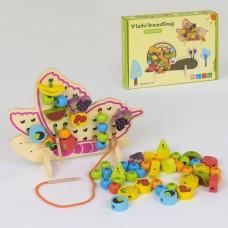 """Деревянная развивающая пальчиковая игрушка шнуровка """"Бабочка"""" на подставке с фруктами и овощами арт. 37748"""