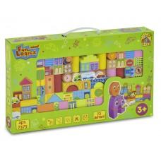 """Деревянные разноцветные развивающие кубики в мешочке """"Городок"""" Win Fun состоит из 72 деталей арт. 7375"""