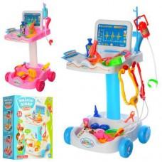Детский Развивающий Игровой Набор Доктора Тележка с аксессуарами, капельница, шприц, свет и звук арт. 606-1-5
