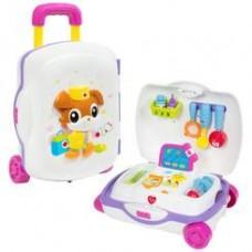 Детский Развивающий Игровой Набор Доктора в чемодане на колесиках, световые и звуковые эффекты HOLA арт. 3107
