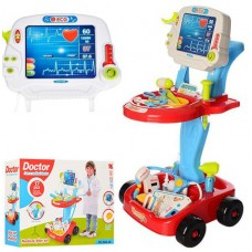 *Игровой набор доктора с тележкой со световыми и звуковыми эффектами красного цвета арт. 660-46