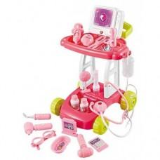 Детский Развивающий Игровой Набор Доктора Тележка с аксессуарами, раковиной, световые эфф. розовый арт. 8125-3