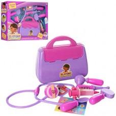 Детский игровой набор Чемоданчик Доктора Плюшевой: чемодан с 9 инструментами и наклейками, сиреневый