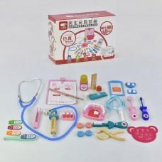 Детский игрушечный набор доктора деревянный (стетоскоп, зубная щетка, щипцы,термометр, шприц, др.) арт. 35733