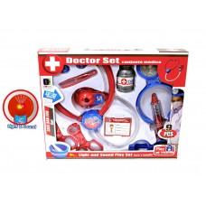"""Детский игровой набор """"Доктор"""" с аксессуарами (9 предметов) со световым и звуковым эффектом арт. 661-201-2"""
