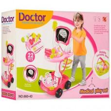 Детский Развивающий Игровой Набор Доктора с тележкой и мед. инструментами, свет и звук 41х58х32 см розовый