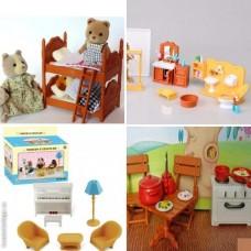 Игрушечный набор мебели с аксессуарами для домиков (5 шт!!!) Sylvanian Families Happy family