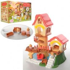 Игрушечный трехэтажный лесной домик с аксессуарами и животными аналог Sylvanian Families арт. 1508