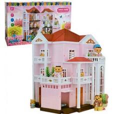 Игрушечный Трехэтажный Большой Дом Happy Family с 6 комнатами, гаражом, люстрой, разворачивающийся, арт. 1513
