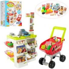 Детский Игровой Набор Магазин-Супермаркет салатовый прилавок, весы, касса, тележка, со звуком арт.668-01-03
