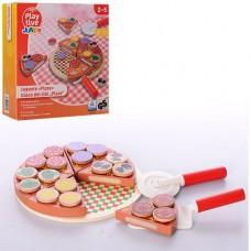 Детская Деревянная игра Пицца на липучках: подставка, 6 кусочков пиццы, нож, лопатка с ингредиентами 21х21х3см