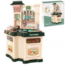 Детская Игрушечная Кухня с посудой, со световыми и звуковыми эффектами, циркуляцией воды, зеленая, 55х77х30 см