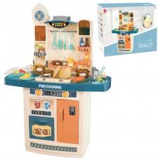 Детская Игрушечная Кухня с посудой, со звуковыми и световыми эффектами, с циркуляцией воды, синяя, 72х100х32 см