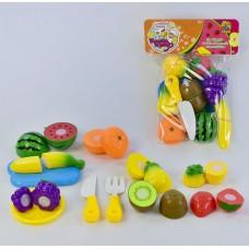 Детский Игровой Развивающий Набор Фрукты на липучках с ножом, доской, тарелкой, вилкой, 20 деталей, 10 фруктов