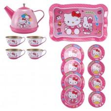 Детский Игровой набор Металлической Посуды: разнос, чайник с крышкой, 4 чашки, 4 тарелки, 4 блюдца Hello Kitty