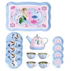 Детский Игровой набор металлической посуды Frozen: разнос, чайник с крышкой, 4 тарелки, 4 чашки и 4 блюдца