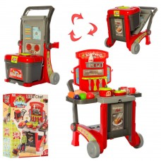 Детский Игровой Набор Кухня-трансформер на тележке с боксом для хранения, продуктами и посудой арт. 008-930 44104-06 lvt-008-930