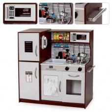 Детская Деревянная Игрушечная Кухня с плитой, раковиной, холодильником, духовкой, микроволновкой 83х24х80 см