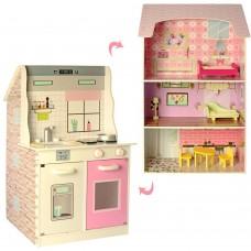 Игровой набор для девочек 2в1: Деревянный трехэтажный домик для кукол и Кухня с мебелью и посудой 46х12х94 см