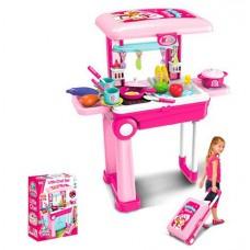 Детский Игровой Набор Кухня на стойке-чемодане с аксессуарами, световые и звуковые эффекты арт. 008-921