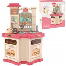 Детская Игрушечная Кухня с посудой, со световыми и звуковыми эффектами, циркуляцией воды, розовая, 55х77х30 см