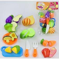 Детский Игровой развивающий Набор Овощи на липучках с ножом, дощечкой, тарелкой и вилкой, 16 деталей, 8 овощей