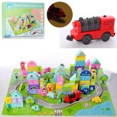 Игровой Набор-конструктор из Деревянных Кубиков с Железной дорогой и паровозиком на батарейках, 111 деталей