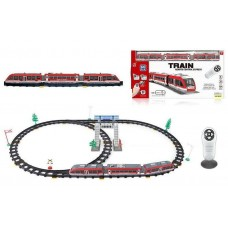 Игрушечная Железная дорога для детей с пультом управления, локомотивом и 2 вагонами, аксессуарами - 60 элементов