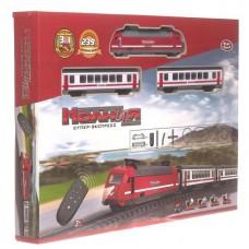 Игровой набор Железная дорога для детей Молния на радиоуправлении с локомотивом и 2 вагонами, длина 239 см