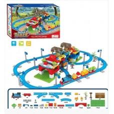 Железная дорога-конструктор с Паровозиком Томас для детей, со звуковыми эффектами, с аксессуарами, 246 деталей