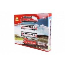 Детская Игрушечная Железная Дорога Молния 2 паровозиками с регулировкой скорости, свет и звук арт. 9712-1 В
