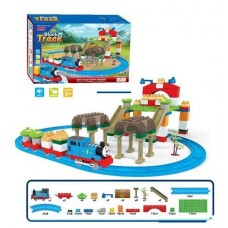 Железная дорога-конструктор для детей с Паровозиком Томасом и вагонами, со звуковыми эффектами, 97 деталей