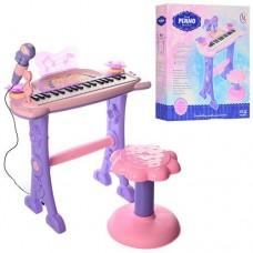 Детский синтезатор - пианино на ножках со стульчиком, микрофоном, 37 клавиш, со световыми эффектами арт. 6613