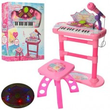 Детский синтезатор - пианино на ножках со стульчиком, микрофоном, со световыми эффектами арт. 22056