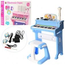 Детский синтезатор (пианино) со стульчиком, микрофоном и наушниками, голубого цвета арт. 8818-206AB